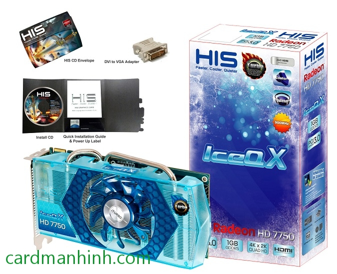 Card màn hình HIS Radeon HD 7750 IceQ X Blue Turbo