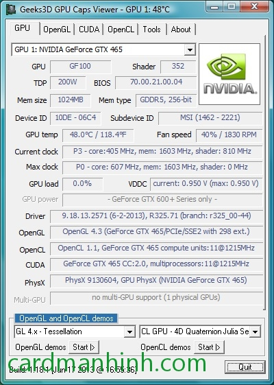 Driver card màn hình NVIDIA GeForce 325.71 dành cho Windows 8.1 Release Preview
