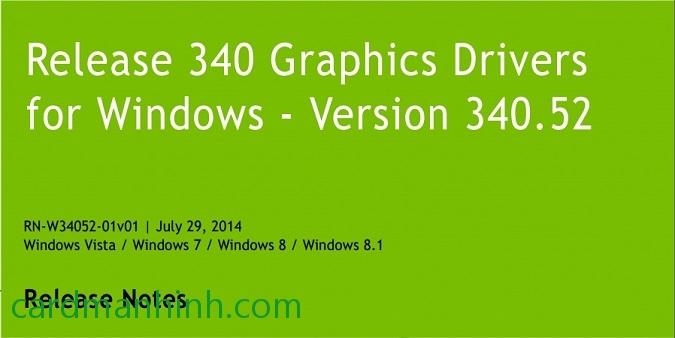 Driver card màn hình NVIDIA GeForce 340 52 WHQL
