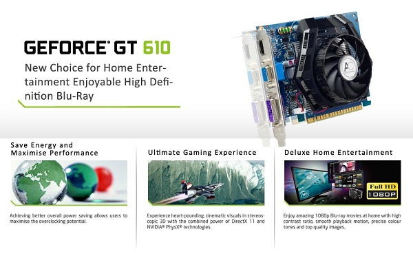 Card màn hình Sparkle GeForce GT 610 full-profile