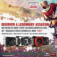 MSI khuyến mãi game Assassins Creed Chronicles: India với card màn hình AMD